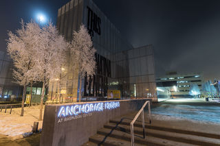 Anchorage, city center, downtown, fog, frost, moon, night, nighttime, winter