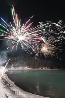 Kenai River, New Year's Eve, fireworks, nighttime, winter