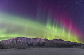Chugach Mountains, Knik River, aurora borealis, landscape, night sky, northern lights, winter
