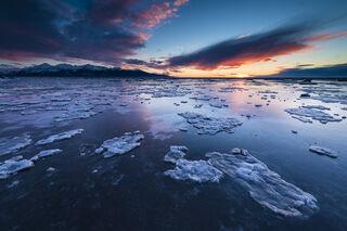 Icy Coastal Sunset