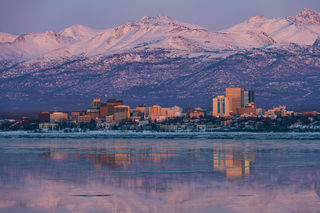 Anchorage, alpenglow, evening, skyline, winter