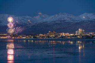 Anchorage, Fur Rondy, evening, fireworks, skyline, winter