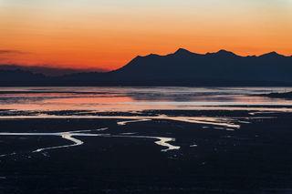 Cook Inlet, Tordrillo Mountains, landscape, orange, sky, sunset, winter