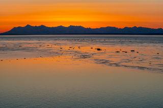 Alaska Range, Cook Inlet, Tordrillo Mountains, ice, sunset, tide, winter