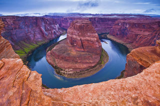 Arizona, Colorado River, Horseshoe Bend, Page, cloudy, desert, landscape, morning, southwest