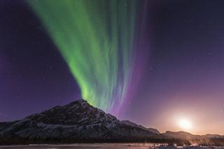 Aurora With Moonrise, Mt. Dillon
