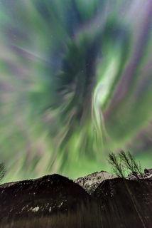 Chugach Mountains, Eklutna Tailrace, Knik River, Spring, aurora borealis, northern lights