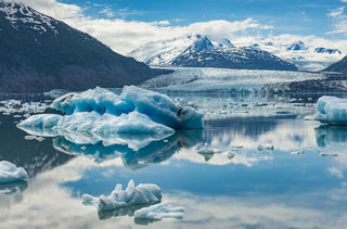 Chugach Mountains, Colony Glacier, Glacier, Lake George, icebergs, summer, wilderness
