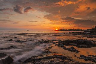 Hawaii, coastal, island, summer, sunset, surf, tropical