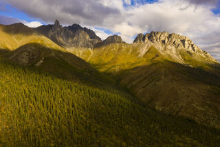 Autumn, Brooks Range, aerial, evening, landscape