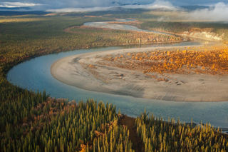 Alaska, Arctic, Autumn, Gates of the Arctic, North Fork Koyukuk River, aerial, evening, landscape, national park, preserve