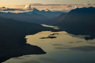 Alaska, Autumn, Brooks Range, Gates of the Arctic, Mount Igikpak, Walker Lake, aerial, evening, landscape, scenery