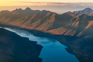 Alaska, Anchorage, Autumn, Chugach Mountains, aerial, landscape