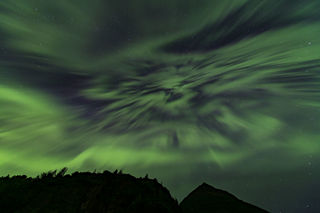 Autumn, Chugach Mountains, Knik River, aurora borealis, night sky, northern lights