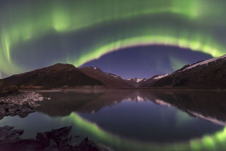 Alaska, Autumn, Southcentral Alaska, aurora borealis, landscape, night sky, nighttime, northern lights