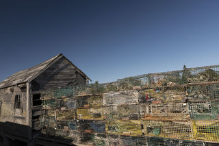 Corea, Maine, coastal, fishing, lobster pots, lobster traps, morning, village