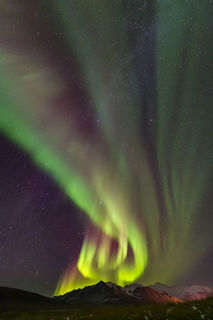 Alaska, Arctic, Brooks Range, aurora borealis, landscape, night sky, northern lights