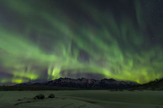 Knik River, aurora borealis, landscape, night sky, northern lights, winter