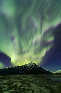 Chugach National Forest, Twenty Miile River, aurora borealis, night sky, northern lights