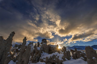 California, Mono Lake, landscape, tufa, winter