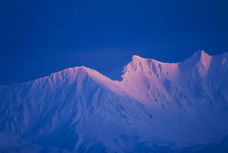Chugach Mountains, Turnagain Arm, alpenglow, film, landscape, sunset, winter