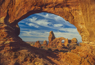 Arches National Park, Autumn, North Window Arch, Utah, desert, film, landscape, morning, sunrise