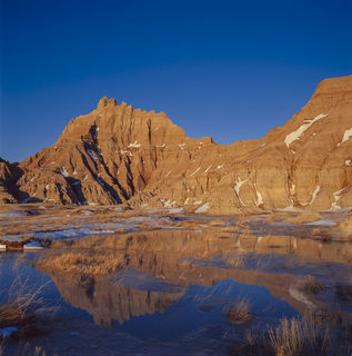 Badlands National Park, South Dakota, Spring, evening, film, formations, landscape, snow, snow melt