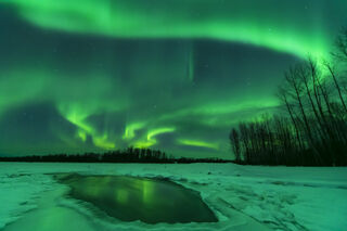 Alaska, Talkeetna, aurora borealis, landscape, night sky, northern lights, winter