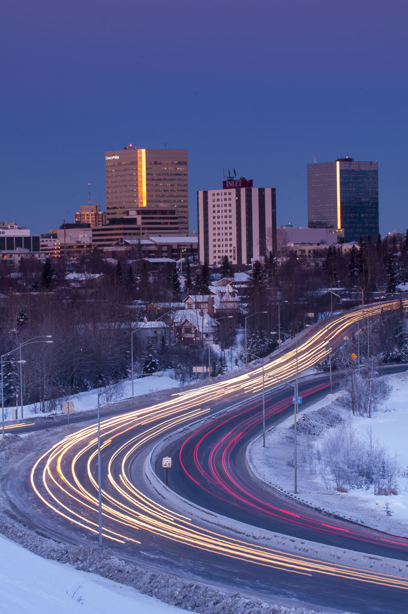 For this image of the Anchorage downtown skyline, I wanted to capture a different angle than is typical, and illustrate the hustle...