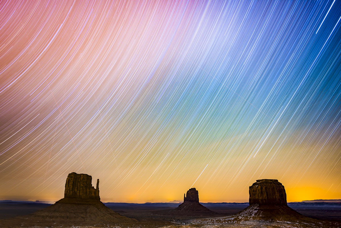 "Two-hour star trails capture with ""The Mittens"" at Monument Valley Navajo Tribal Park, Arizona. I actually set up the tripod..."