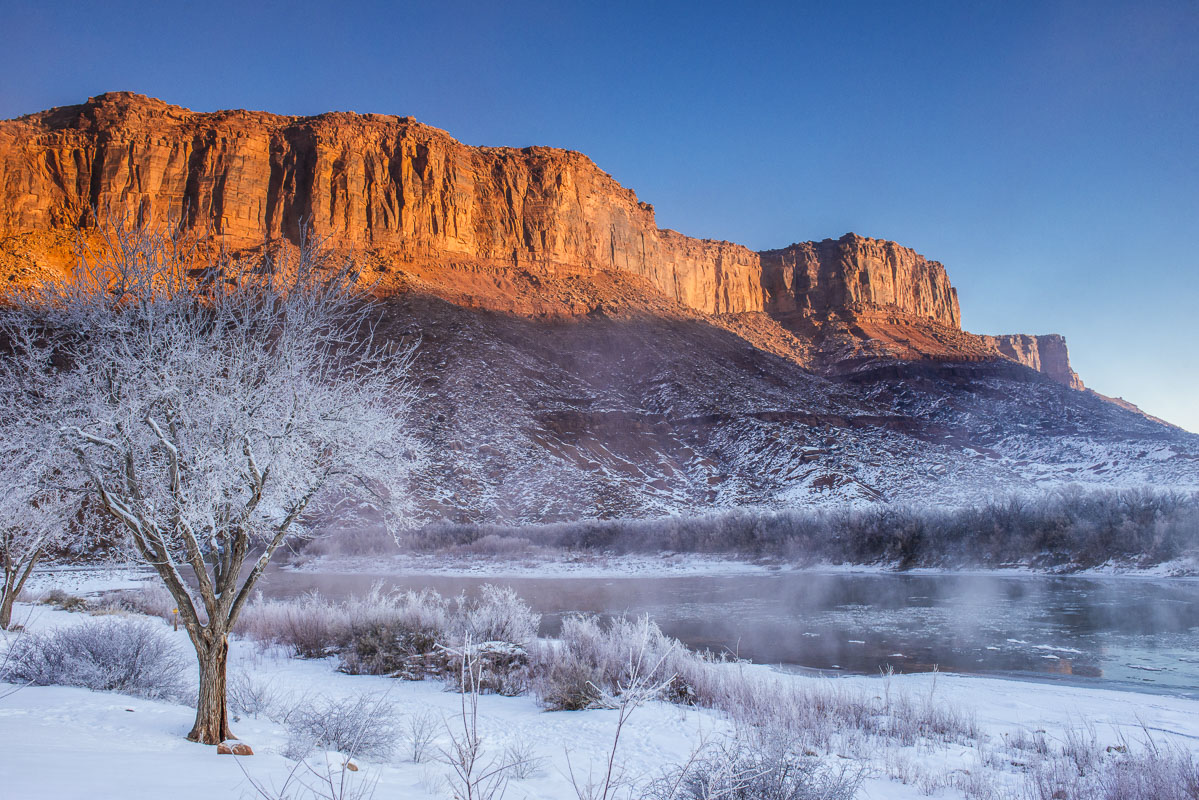 Frost on the trees and bushes show what an unusually cold time it was during this January visit to Moab. Staying at the Red Cliffs...