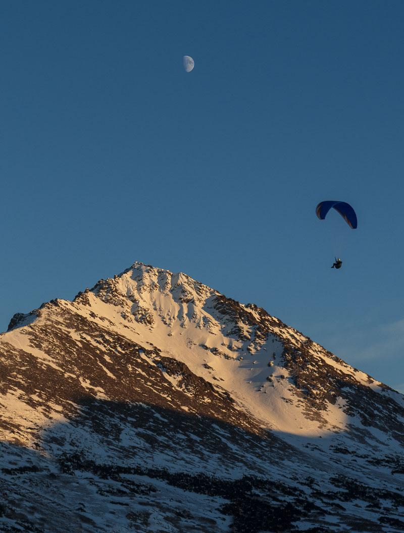 Chugach Mountains, Chugach State Park, O'Malley Peak, moon, mountain, paraglider, photo