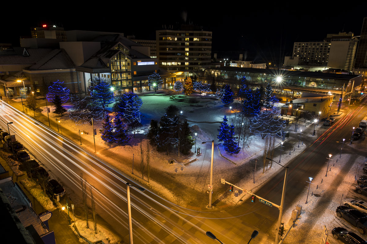 Located in the heart of Anchorage's city center, Town Square Park is a beacon of colorful lights among its varied trees in winter...