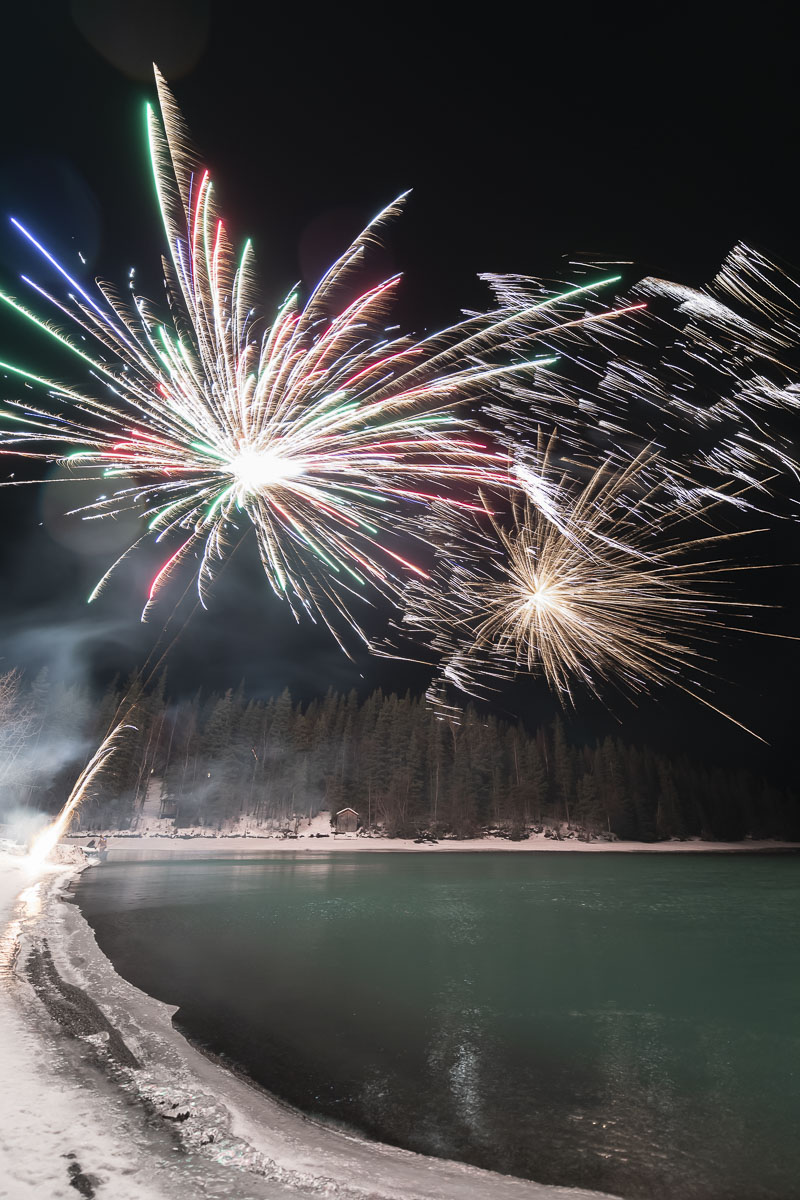 Kenai River, New Year's Eve, fireworks, nighttime, winter, photo