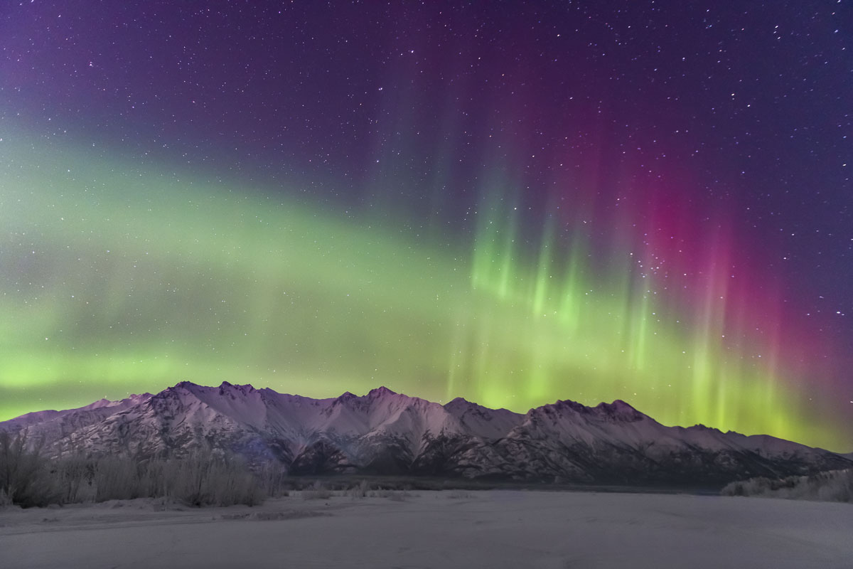 Chugach Mountains, Knik River, aurora borealis, landscape, night sky, northern lights, winter, photo