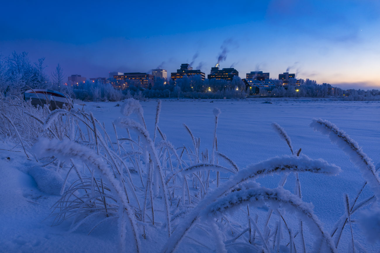 Hoar frost clings to tidal grasses along the mudflats of Cook Inlet as steam billows from downtown Anchorage buildings at dusk...