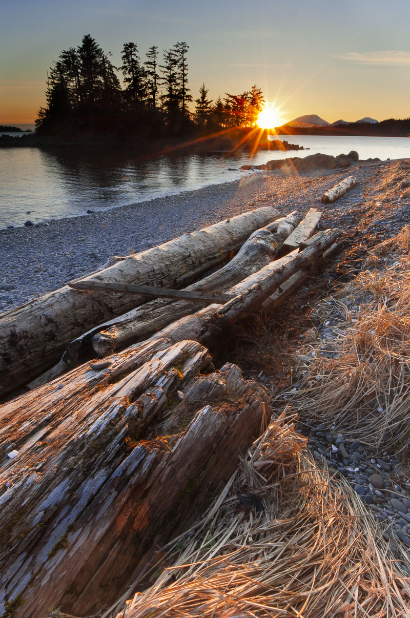 We explored the beach out at Halibut Point in Sitka around sunset, allowing time to enjoy the view. I enjoyed the huge driftwood...