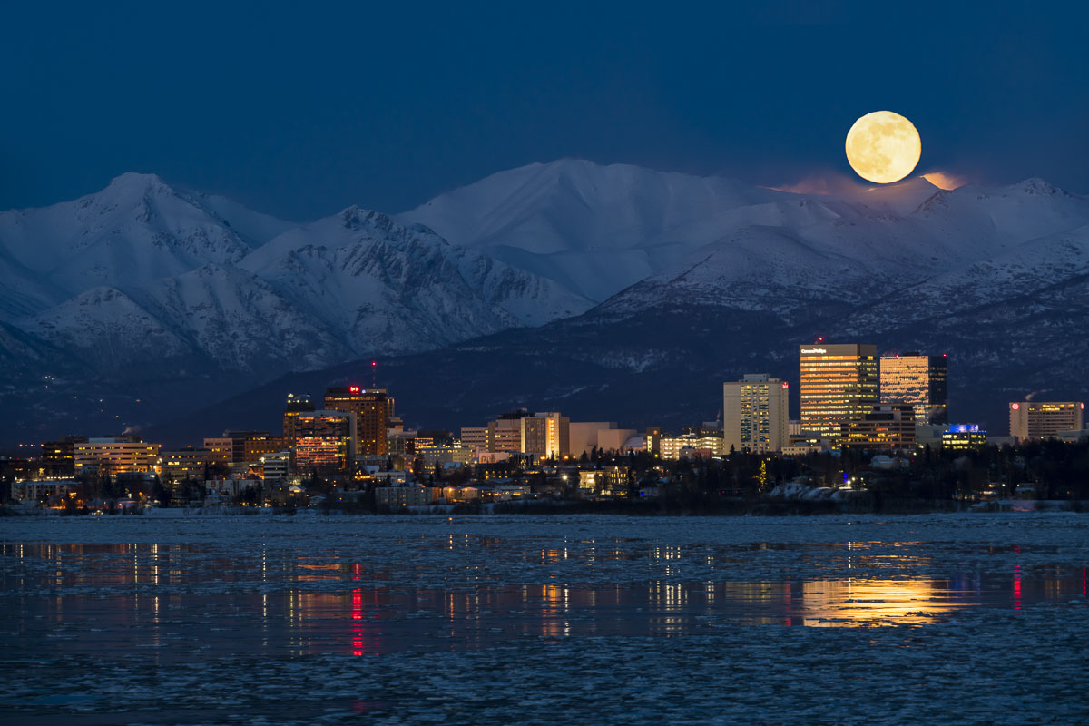 Anchorage, Full moon, moon, moonrise, mountains, skyline, winter, photo