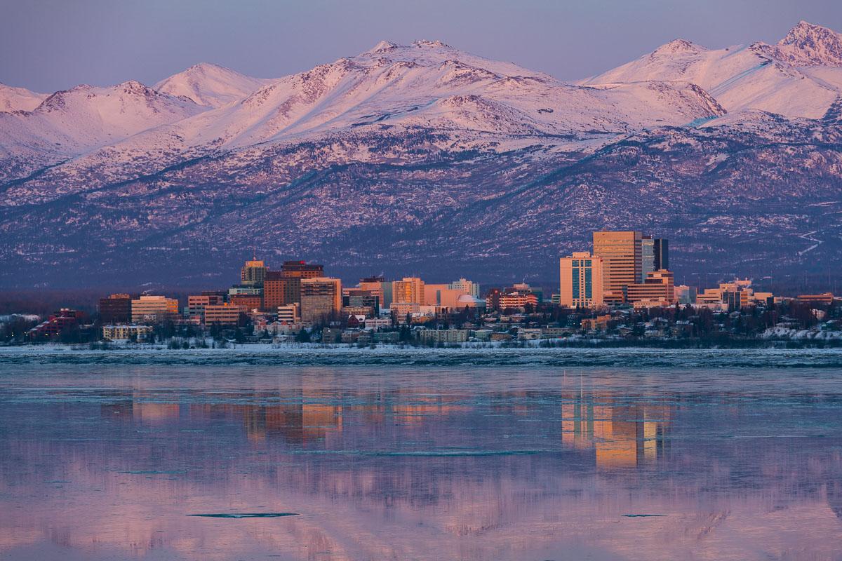 Anchorage, alpenglow, evening, skyline, winter, photo