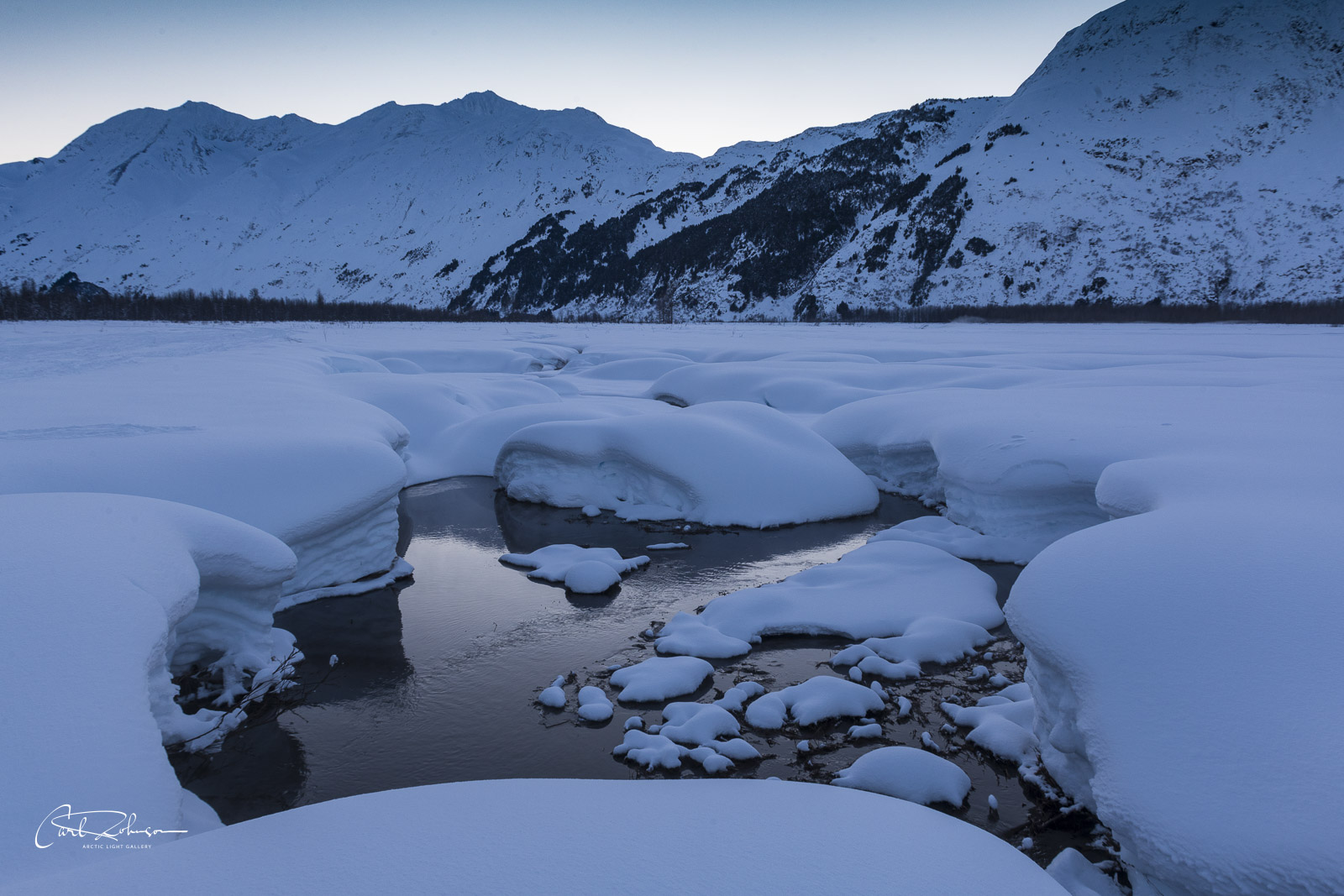 While returning from a snow machine outing to Spencer Glacier, we came upon an open spot of a creek in the valley. I pulled over...