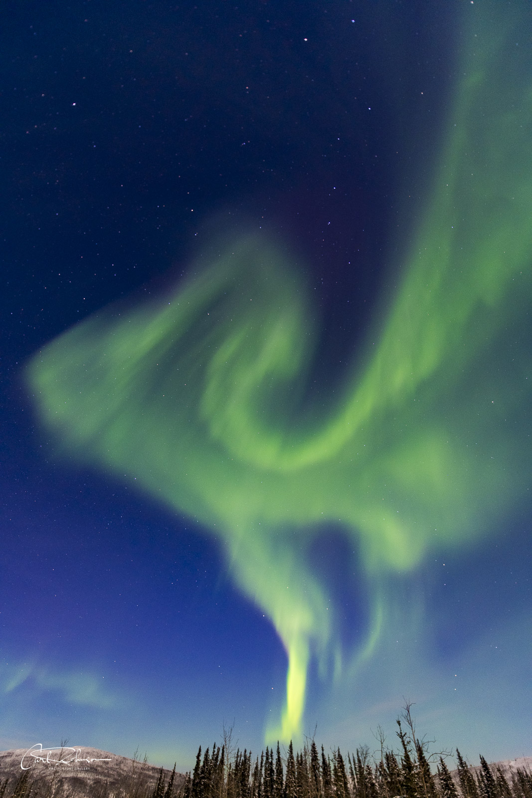Aurora watching can sometimes be like watching for shapes in the clouds. Here, a towering formation of the aurora borealis seems...