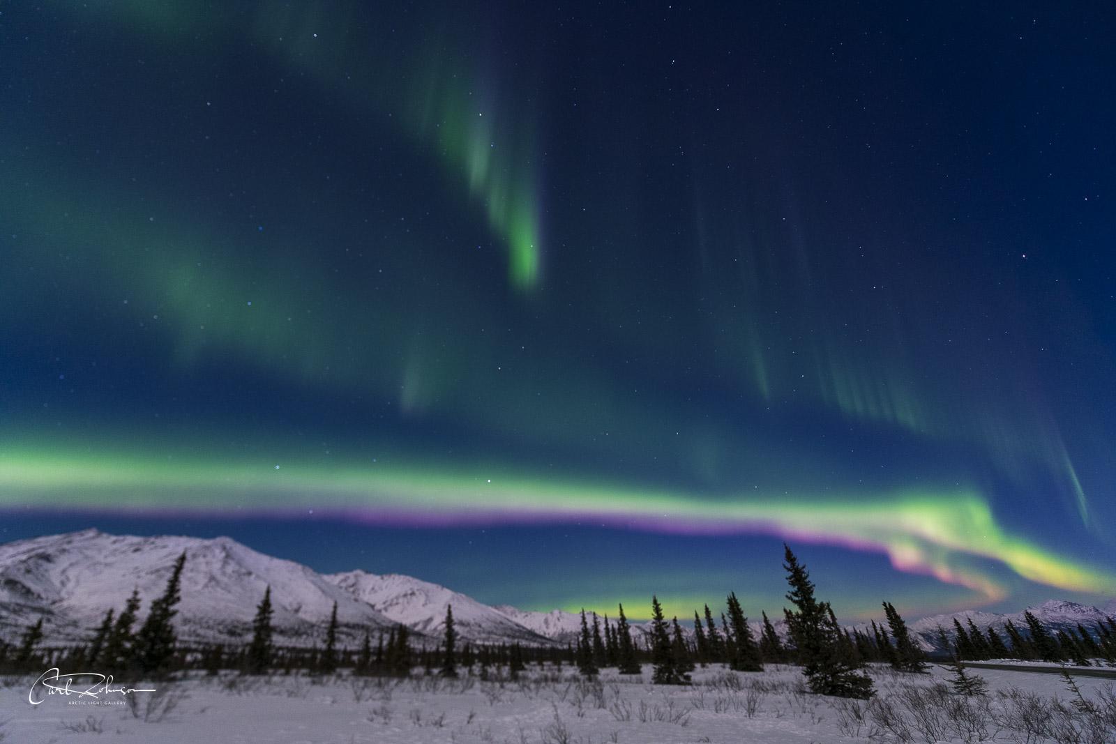 An active aurora borealis spans over the Alaska Range in winter.