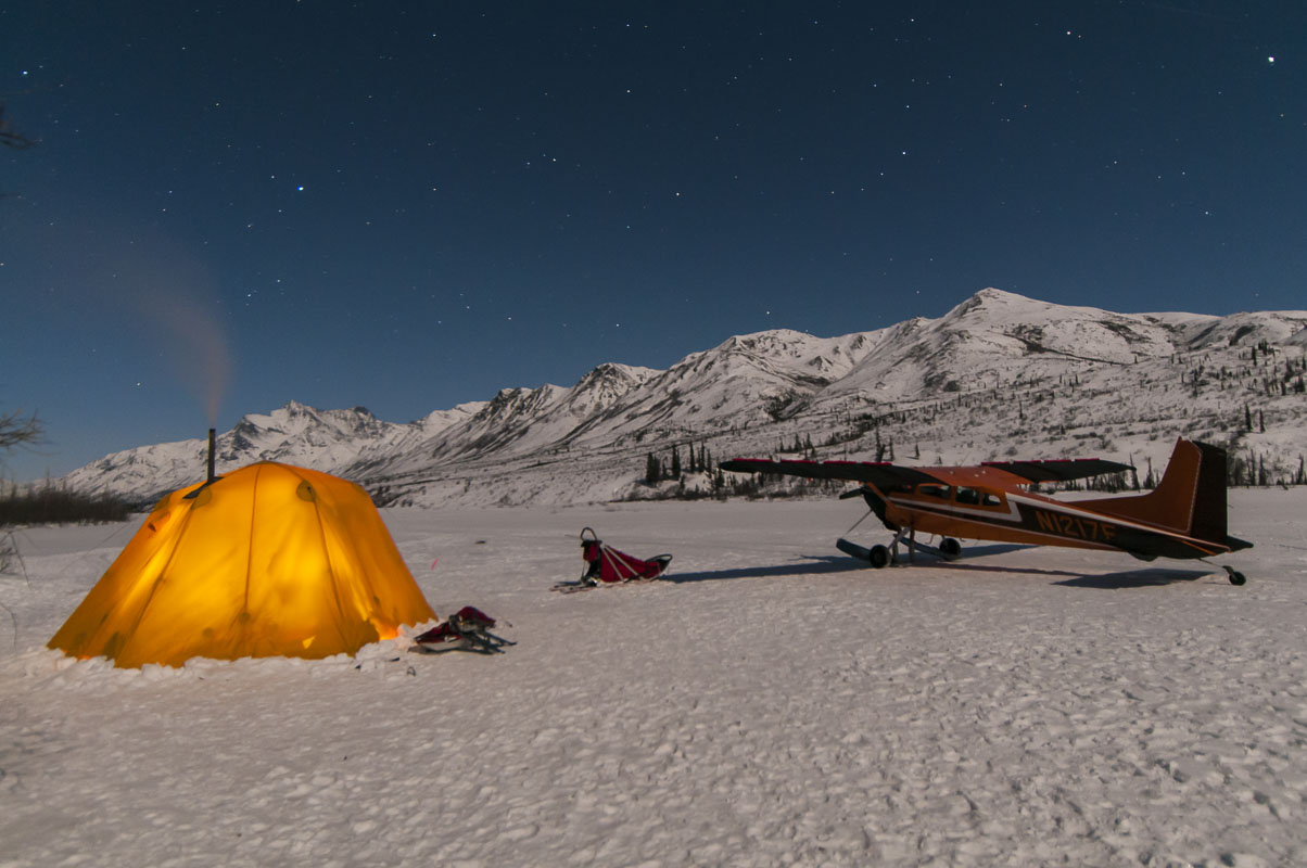 Alaska, Gates of the Arctic National Park & Preserve, North Fork Koyukuk River, camp, dog sled, landscape, national park, nighttime, plane, stars, tent, winter, photo