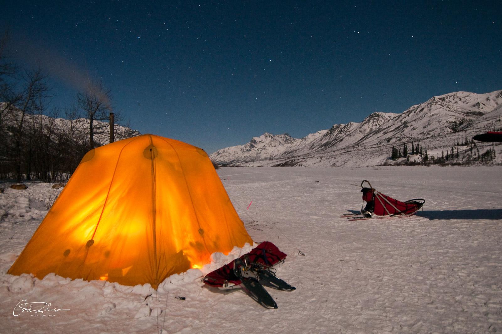 Alaska, Gates of the Arctic National Park & Preserve, North Fork Koyukuk River, camp, dog sled, landscape, national park, nighttime, stars, tent, winter, photo
