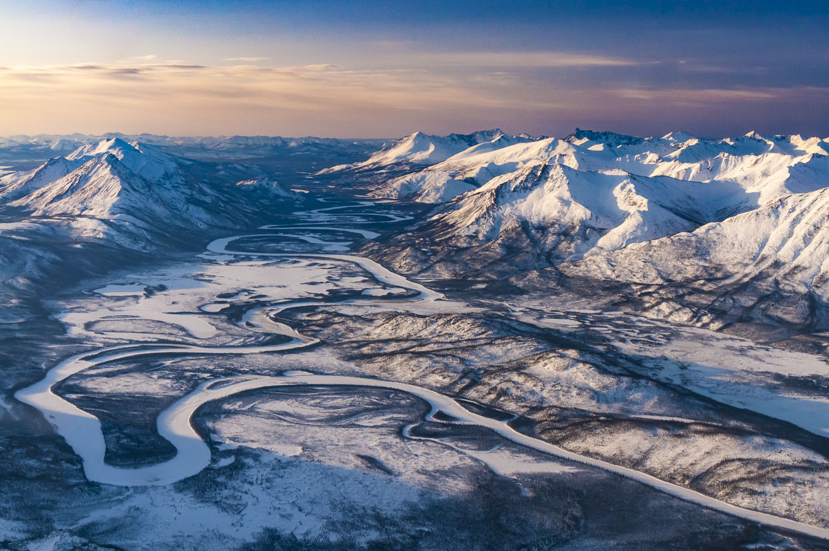 Aerial view of the Alatna River in Gates of the Arctic National Park & Preserve, Alaska.