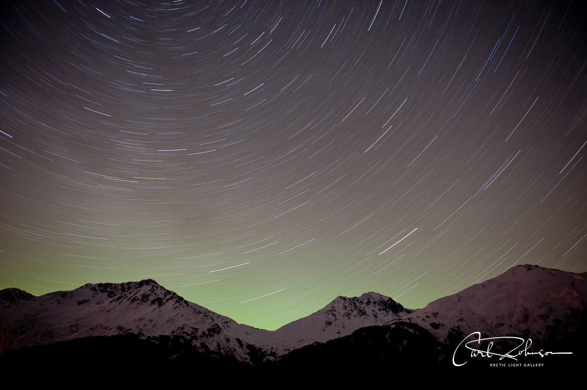 Single-frame star trails with aurora borealis, Portage Valley, Chugach National Forest