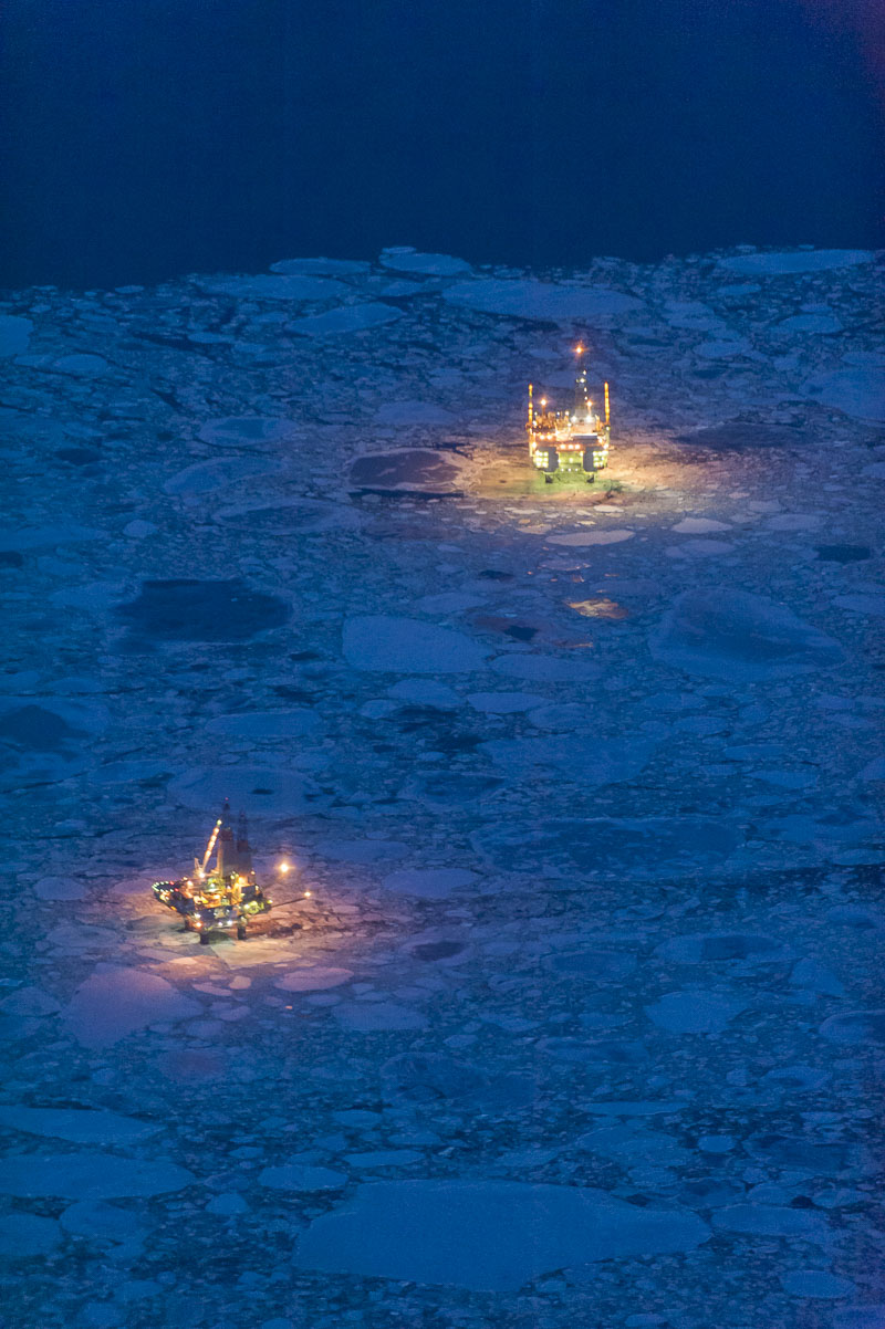 Aerial, Cook Inlet, oil and gas, platforms, ice, water, night, Alaska, photo