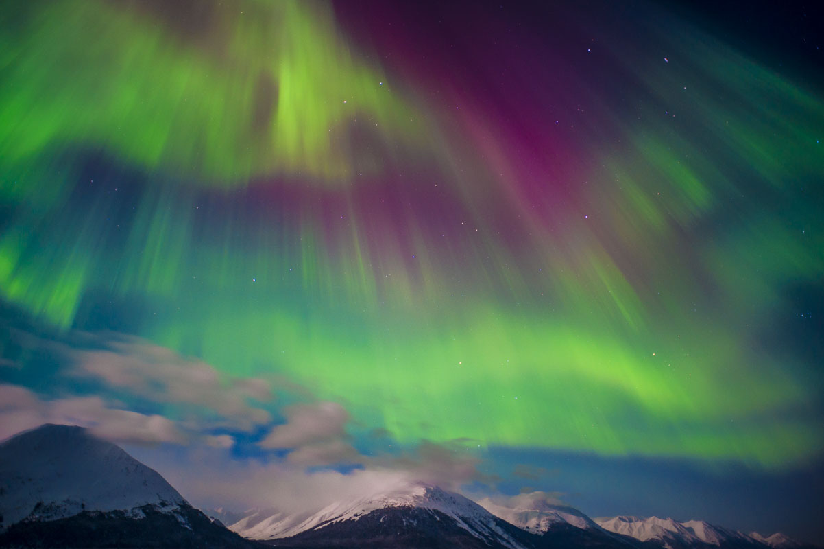 "During a particularly active early March display, the aurora borealis was active enough to ""head south"" and be visible directly..."
