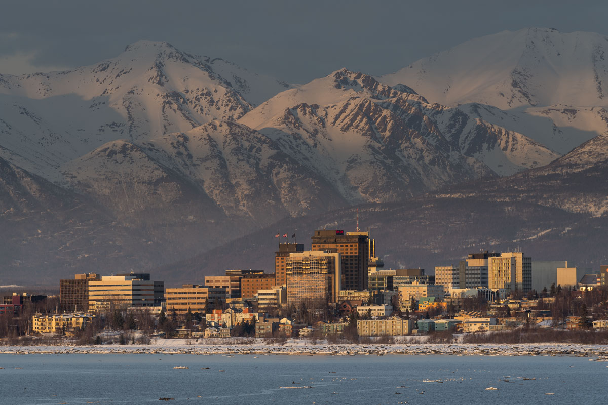 Anchorage, Chugach Mountains, city center, downtown, evening, landscape, winter, photo
