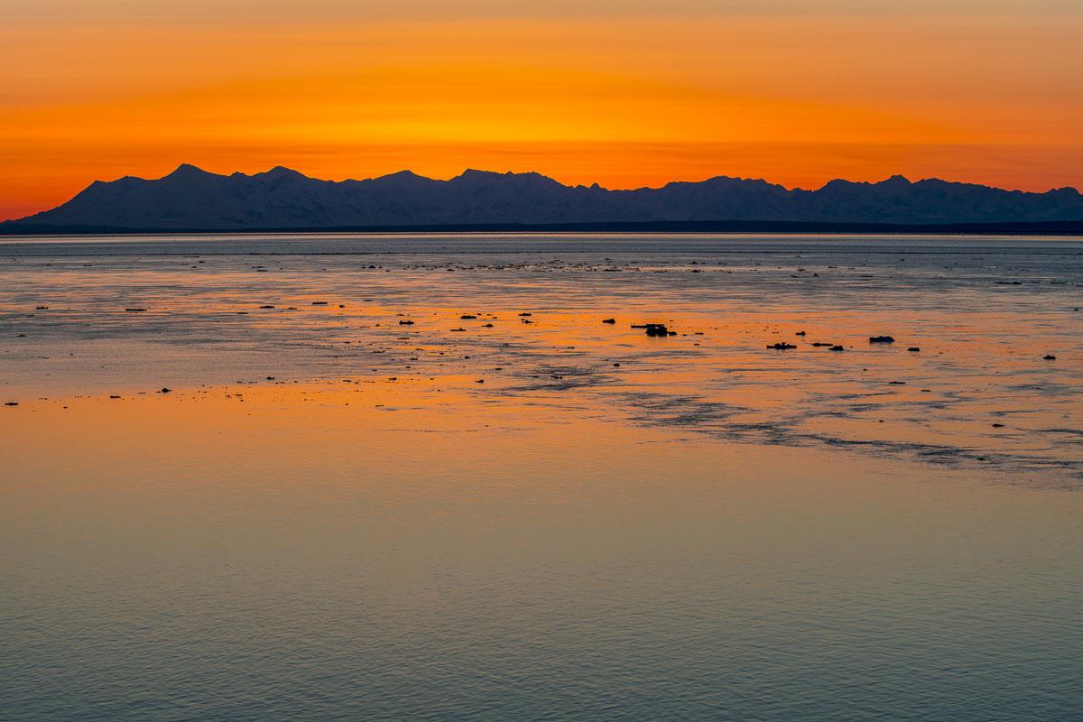 Alaska Range, Cook Inlet, Tordrillo Mountains, ice, sunset, tide, winter, photo